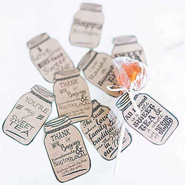 lollipop custom mason jar tags